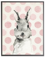 rectangle art print watercolor baby bunny rabbit grey wood frame pink dots