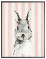 rectangle art print watercolor baby bunny rabbit grey wood frame pink stripes