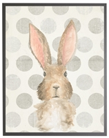 rectangle art print watercolor baby bunny rabbit grey wood frame dots