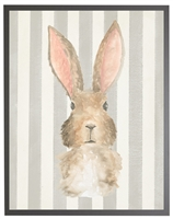 rectangle art print watercolor baby bunny rabbit grey wood frame stripes