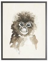 rectangle art print watercolor baby monkey grey wood frame