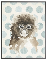 rectangle art print watercolor baby monkey grey wood frame blue dots