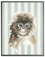 rectangle art print watercolor baby monkey grey wood frame blue stripes