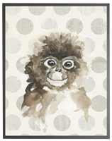 rectangle art print watercolor baby monkey grey wood frame dots