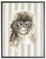 rectangle art print watercolor baby monkey grey wood frame stripes