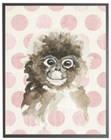 rectangle art print watercolor baby monkey grey wood frame pink dots