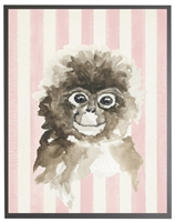 rectangle art print watercolor baby monkey grey wood frame pink stripes