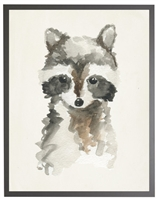 rectangle art print watercolor baby raccoon grey wood frame