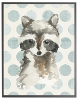 rectangle art print watercolor baby raccoon grey wood frame blue dots