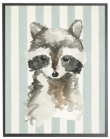 rectangle art print watercolor baby raccoon grey wood frame blue stripes