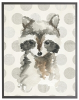 rectangle art print watercolor baby raccoon grey wood frame grey dots