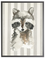 rectangle art print watercolor baby raccoon grey wood frame grey stripes