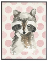 rectangle art print watercolor baby raccoon grey wood frame pink dots