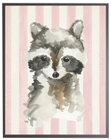 rectangle art print watercolor baby raccoon grey wood frame pink stripes
