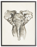 rectangle art print watercolor baby elephant grey wood frame