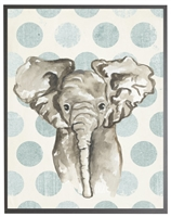 rectangle art print watercolor baby elephant grey wood frame blue dots