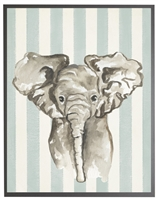 rectangle art print watercolor baby elephant grey wood frame blue stripes
