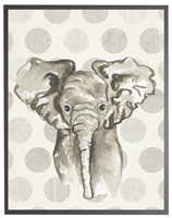 rectangle art print watercolor baby elephant grey wood frame grey dots