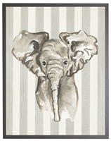 rectangle art print watercolor baby elephant grey wood frame grey stripes