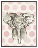 rectangle art print watercolor baby elephant grey wood frame pink dots