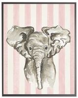 rectangle art print watercolor baby elephant grey wood frame pink stripes