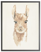 rectangle art print watercolor baby llama grey wood frame