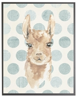 rectangle art print watercolor baby llama grey wood frame blue dots