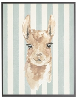 rectangle art print watercolor baby llama grey wood frame blue stripes
