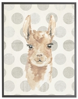 rectangle art print watercolor baby llama grey wood frame grey dots