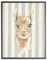 rectangle art print watercolor baby llama grey wood frame grey stripes