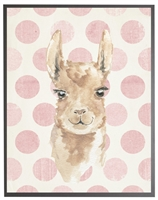 rectangle art print watercolor baby llama grey wood frame pink dots
