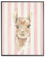 rectangle art print watercolor baby llama grey wood frame pink stripes