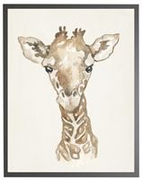 rectangle art print watercolor baby giraffe grey wood frame