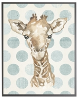 rectangle art print watercolor baby giraffe grey wood frame blue dots
