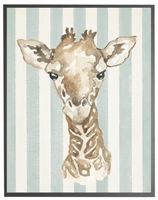 rectangle art print watercolor baby giraffe grey wood frame blue stripes