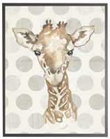 rectangle art print watercolor baby giraffe grey wood frame grey dots
