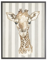 rectangle art print watercolor baby giraffe grey wood frame grey stripes