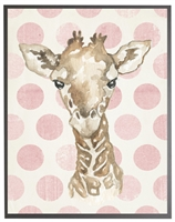 rectangle art print watercolor baby giraffe grey wood frame pink dots
