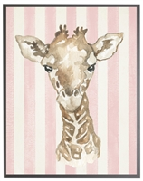 rectangle art print watercolor baby giraffe grey wood frame pink stripes