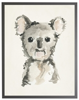rectangle art print watercolor baby koala bear grey wood frame
