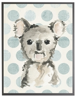 rectangle art print watercolor baby koala bear grey wood frame blue dots