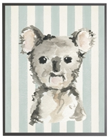 rectangle art print watercolor baby koala bear grey wood frame blue stripes