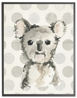 rectangle art print watercolor baby koala bear grey wood frame dots