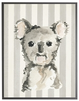 rectangle art print watercolor baby koala bear grey wood frame stripes