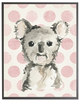 rectangle art print watercolor baby koala bear grey wood frame pink dots
