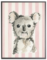 rectangle art print watercolor baby koala bear grey wood frame pink stripes