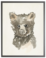 rectangle art print watercolor baby bear grey wood frame