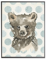 rectangle art print watercolor baby bear grey wood frame blue dots