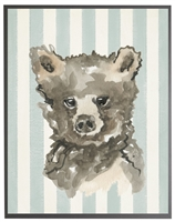 rectangle art print watercolor baby bear grey wood frame blue stripes