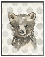 rectangle art print watercolor baby bear grey wood frame grey dots